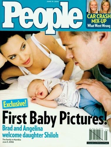 Niềm hạnh phúc thực sự đã tới với Brad Pitt khi Jolie sinh cho anh công chúa đầu lòng Shiloh Nouvel vào tháng 5/2006. Tạp chí People đã trả hơn 4 triệu đô la để có những bức ảnh đầu tiên của con gái cặp đôi vàng này
