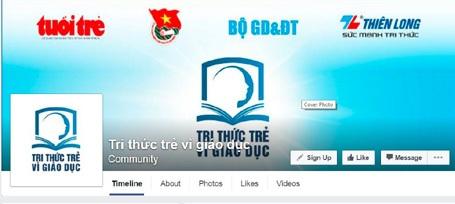 """Nhiều tác giả biết đến chương trình thông qua mạng xã hội. (Ảnh chụp màn hình Facebook của chương trình """"Tri Thức Trẻ Vì Giáo Dục"""")"""
