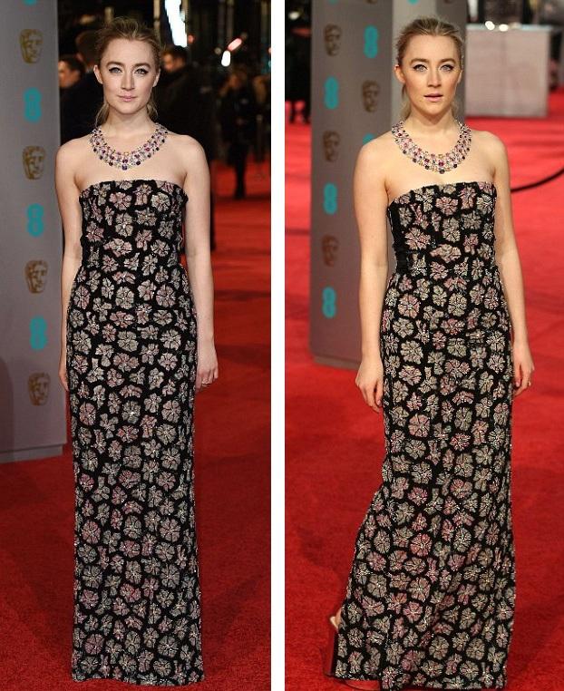 Saoirse Ronan khoe nước da trắng ngần với váy quây vừa cổ điển vừa cá tính.