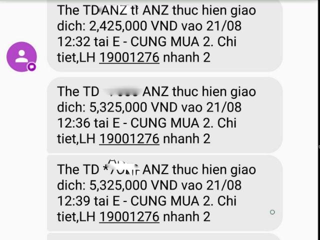 Tin nhắn từ ngân hàng ANZ gửi đến khách hàng T.Đ.Anh về những giao dịch bất thường với tổng giá trị lên đến 30.997.000 đồng.
