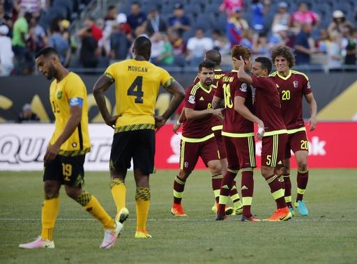 Niềm vui chiến thắng của các cầu thủ Venezuela