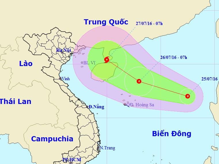 Vi trí và hướng đi của Áp thấp nhiệt đới (ảnh: TTDBKTTVTƯ).