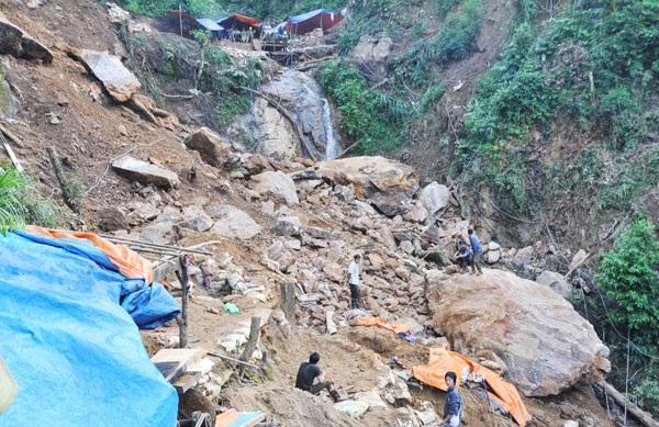 Khu vực mỏ vàng Mà Sa Phìn, xã Nậm Xây, huyện Văn Bàn (tỉnh Lào Cai) nơi có nhiều người chết và bị thương do mưa lũ, sạt lở đất ngày 20/8/2016. Ảnh: Báo Lào Cai.