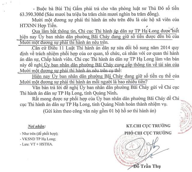 Công văn hỏi thông tin UBND phường Bãi Cháy của Chi cục THA dân sự TP Hạ Long được các luật sư cho rằng chậm chạp vừa chưa hết trách nhiệm.