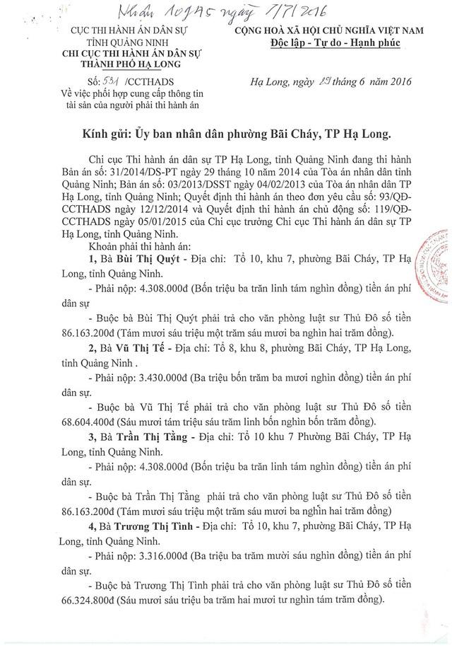 """Quảng Ninh: Tổng cục Thi hành án chỉ đạo xử lý vụ thi hành án kiểu """"sống chết mặc bay"""" - 2"""