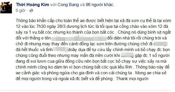 Thông tin về vụ bắt cóc nam sinh lớp 11 được miêu tả li kì trên Facebook.