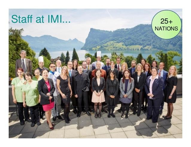 Đội ngũ cán bộ, giảng viên của trường IMI đến từ hơn 25 quốc gia khác nhau tạo nên một môi trường học tập đa văn hóa với nhiều trải nghiệm thú vị
