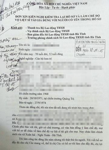 Hồ sơ đề nghị giải quyết chế độ vợ liệt sỹ tái giá của bà L. qua nhiều năm không được ngành LĐ-TB-XH Hà Tĩnh giải quyết.