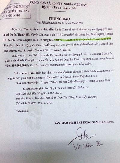 Sàn BĐS Cienco 507 vẫn yêu cầu bà Loan đóng thêm tiền xác lập quyền đầu tư dự án Thanh Hà