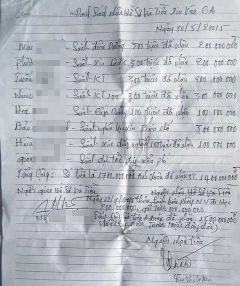 Danh sách cùng số tiền ông Xuân nhận từ ông K. để hứa chạy vào các vị trí.