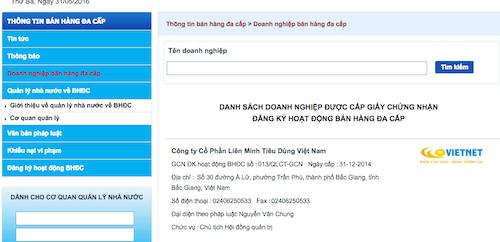 Danh sách hoạt động kinh doanh đa cấp của Công ty CP Liên minh tiêu dùng Việt Nam trên Website của Cục quản lý cạnh tranh.