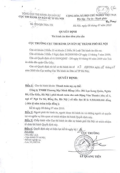 Quyết định thi hành án theo yêu cầu của Cục thi hành án TP Hà Nội.