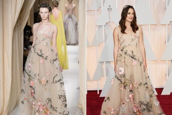 Keira Knightley diện mẫu váy thu đông cao cấp của Valentino, cô và siêu mẫu trên sàn catwalk - ai đẹp hơn?