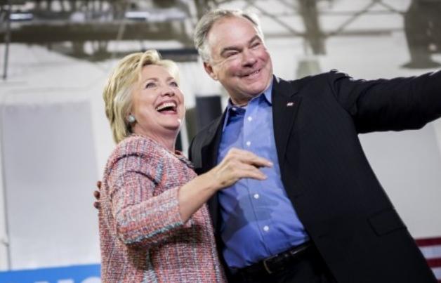 Bà Clinton và ông Tim Kaine. (Ảnh: Washington Post)