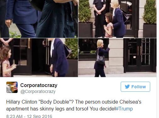 Người phụ nữ bên ngoài căn hộ nhà Chelsea được cho có thân hình mảnh khảnh hơn bà Clinton. (Ảnh: Twitter)