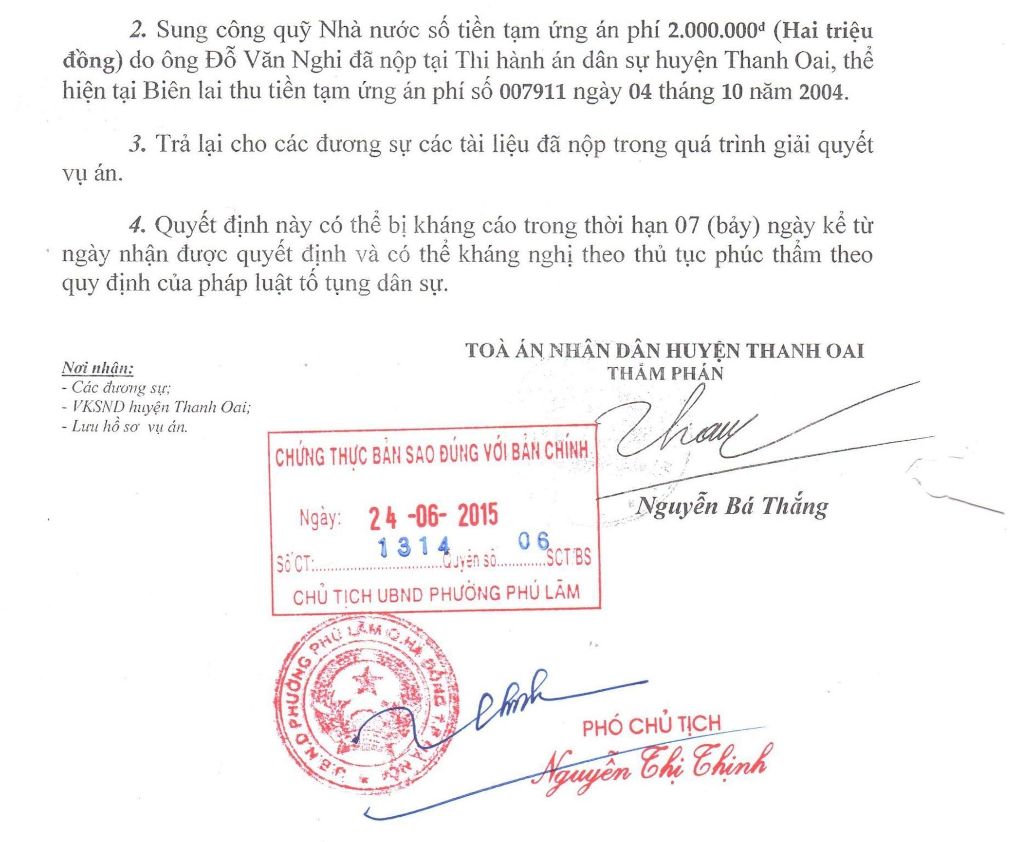 Quyết định đình chỉ vụ án dân sự giữa bà Vũ Thị Vy với các nguyên đơn.