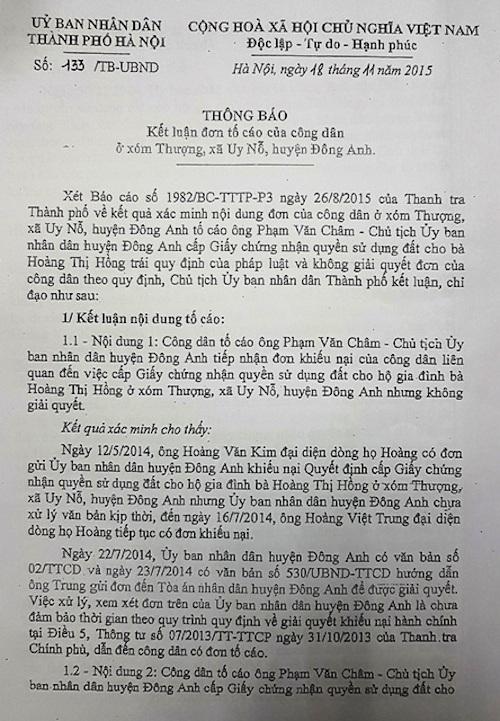 UBND TP Hà Nội ra văn bản yêu cầu UBND huyện Đông Anh phải hủy sổ đỏ đã cấp cho bà Hồng.
