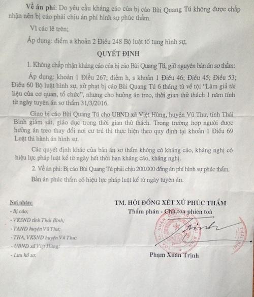 TAND tỉnh Thái Bình kết tội người dân Làm giả tài liệu của cơ quan tổ chức dù khẳng định TAND huyện Vũ Thư kết tội như vậy là không đúng.