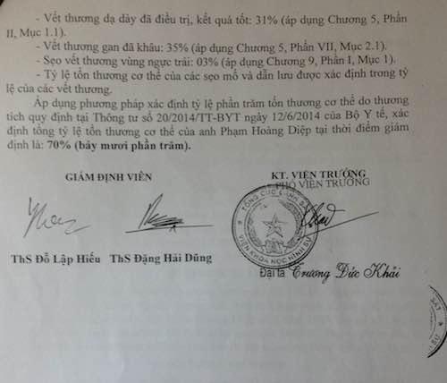 Kết luận giám định thương tích sau khi bị đâm trọng thương của anh Nguyễn Hoàng Diệp.
