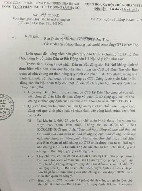"""UBND quận Nam Từ Liêm ra """"tối hậu thư"""" cho chủ đầu tư """"chây ỳ"""" trả phí bảo trì chung cư - 1"""