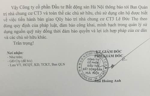 Công ty cổ phần đầu tư bất động sản Hà Nội ra văn bản bị cư dân phản đối quyết liệt.