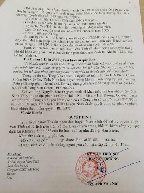 VKSND huyện Nam Sách truy tố tội lạm quyền, bị can khẩn thiết kêu oan.