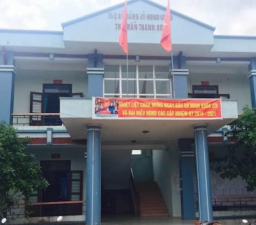 Trụ sở UBND thị trấn Thanh Sơn nơi ông Thắng đang giữ cương vị chủ tịch, con trai là cán bộ tư pháp.
