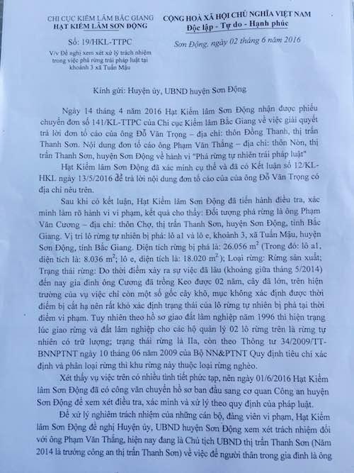 Bài 8: Kiểm lâm đề nghị huyện Sơn Động xử lý cha con chủ tịch thị trấn phá rừng - 1