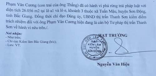 Kiểm lâm đề nghị huyện Sơn Động xử lý cha con chủ tịch thị trấn phá rừng. Tuy nhiên, dư luận đặt câu hỏi ai sẽ xử lý trách nhiệm với lãnh đạo huyện Sơn Động?