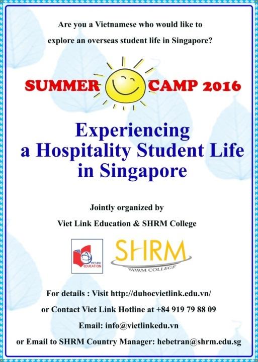 Trang web chính thức của trường SHRM đăng tải thông tin du học hè 2016 (ảnh: website SHRM)