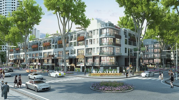 Nhà phố thương mại Mon Street (dự án Mon City) đang gây ấn tượng mạnh tại khu Mỹ Đình