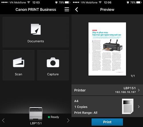In ấn với thao tác đơn giản, tiện dụng qua phần mềm Canon Print Business