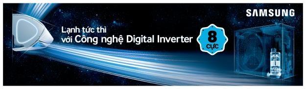Công nghệ Digital Inverter máy nén 8 cực giúp làm lạnh nhanh đến 43% và tiết kiệm điện đến 68%.