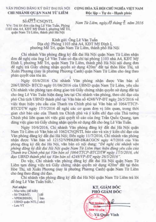 Phó giám đốc Văn phòng đăng ký đất đai quận Nam Từ Liêm thay mặt giám đốc ký công văn trả lời không giao sổ đỏ cho dân bất chấp TAND Tối cao tuyên án.