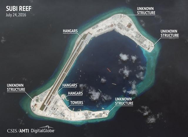 Nhiều cấu trúc chưa thể xác định trong ảnh chụp vệ tinh về hoạt động xây dựng trái phép của Trung Quốc ở Đá Xu Bi. (Ảnh: CSIS)