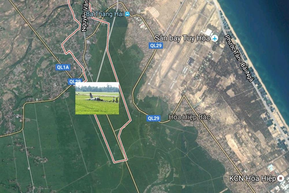 Vị trí máy bay rơi (Maps: Google)