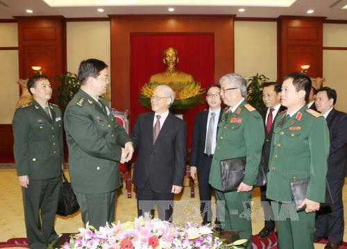 Tổng Bí thư Nguyễn Phú Trọng trong buổi tiếp Đoàn đại biểu cấp cao Bộ Quốc phòng Trung Quốc - Ảnh TTXVN