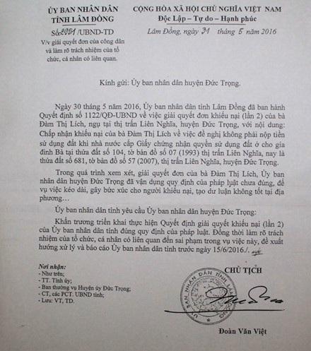 UBND tỉnh Lâm Đồng ra văn bản chỉ đạo làm rõ trách nhiệm của tổ chức, cá nhân có liên quan đến sai phạm trong vụ áp thuế 5,7 tỷ đồng cho 253,9m2 đất thổ cư trước ngày 15-6-2016.