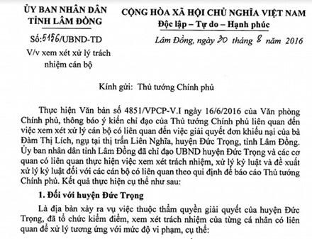 """Văn bản của UBND tỉnh Lâm Đồng gửi Thủ tướng Chính phủ về mức kỷ luật cán bộ """"ép"""" dân vụ thuế đất oan 5,7 tỷ đồng."""