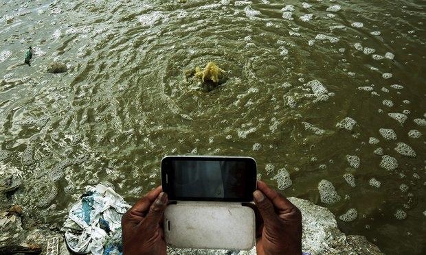 Hình ảnh nước bị ô nhiễm tại các bãi rác Vijyaipura gần Bangalore Ấn Độ