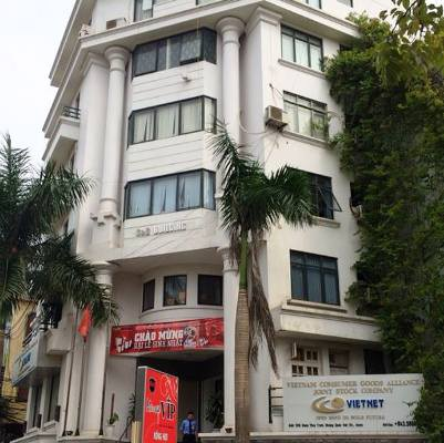 Trụ sở hoành tránh của người khổng lồ đa cấp Liên minh tiêu dùng Việt Nam tại số 15 Đặng Thuỳ Trâm (Hà Nội).