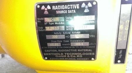 Hình ảnh nguồn phóng xạ Cs-137 của Nhà máy Đạm Hà Bắc. (Ảnh: together2s.com)