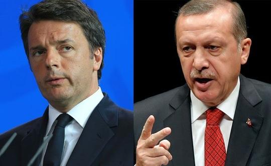 Cuộc tranh cãi nảy lửa giữa Thủ tướng Ý Matteo Renzi (trái) và Tổng thống Thổ Nhĩ Kỳ Tayyip Erdogan nổ ra trên mạng truyền thông. Ảnh: Bloomberg