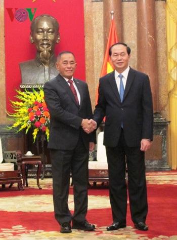 Chủ tịch nước Trần Đại Quang và Bộ trưởng Ryamizard Ryacudu.