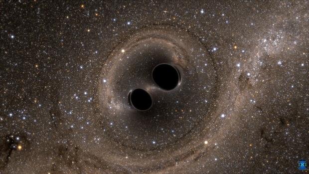 Hình ảnh hai hố đen hợp nhất (Ảnh: the Simulating eXtreme Spacetimes – SXS project)