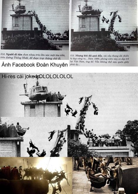 Bức ảnh với cảnh cầu thang bật ra được cho là ảnh chế nhưng được tác giả Tam Thái cho là ảnh tư liệu trong sách của mình.