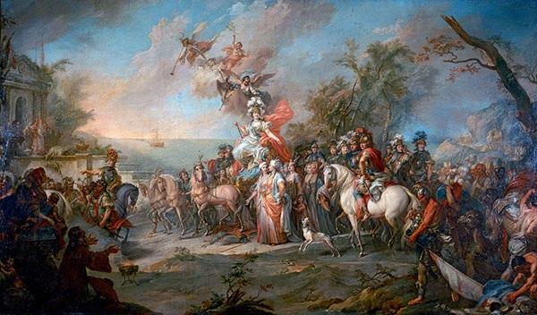 Tranh vẽ minh họa chiến thắng của Nữ hoàng Nga Ekaterina trước quân Thổ Nhĩ Kỳ (1772). Ảnh:Wiki.