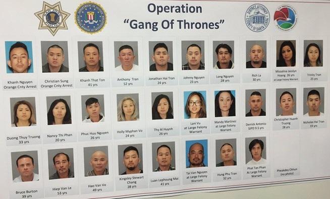 Ảnh các tay anh chị gốc Việt đã bị bắt trong chiến dịch Gang of Throne. (Nguồn: mercurynews.com)