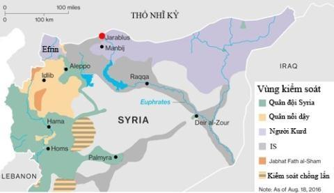 Vùng lãnh thổ do người Kurd kiểm soát sẽ nối liền một dải dọc biên giới phía bắc Syria. Đồ họa: IWS.
