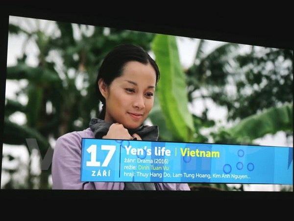 Giới thiệu phim Cuộc đời của Yến tại buổi họp báo. (Ảnh: Ngọc Mai/Vietnam+)